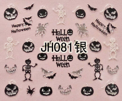 Halloween Black Pumpkin Bats Skeleton Silver Stud 3D Nail Art Sticker - Black And Silver Halloween Nail Art