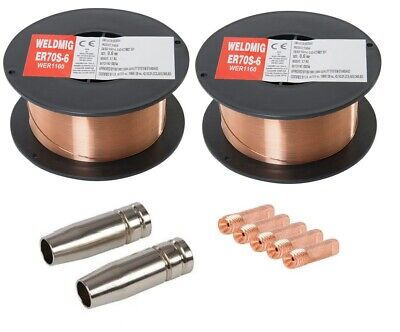 Mild-steel Welding Wire (2 x Mild Steel MIG Welding Wire - 0.6mm 0.7kg Reel - (inc. M6 Tips And Shrouds))
