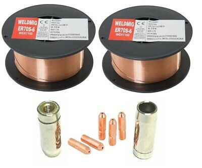 2 x Mild Steel MIG Welding Wire - 0.8mm 0.7kg Reel - (inc. M5 Tips And Shrouds)