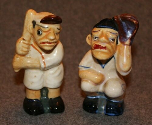 Ceramic Old Time Baseball Players Salt And Pepper Shakers - Japan Occupied Japan