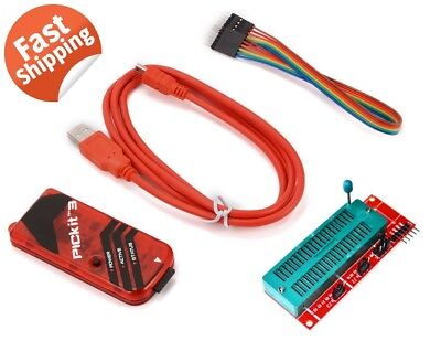 Pickit3 Microchip Programmer W Usb Cable Wires Pic Kit 3 And Icsp Socket