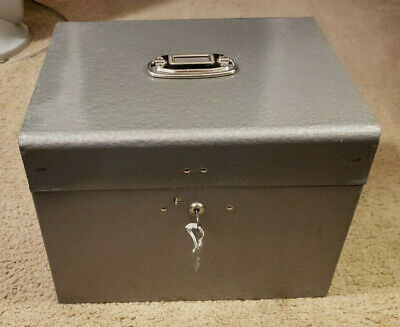 Vintage Portable Steel File Box Whandle And Keys 12.75 W X 9.75 Deep X 10 H