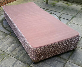 single divan bed, spring top. In good condition.