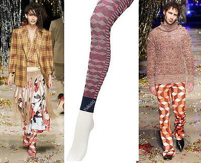 "Vivienne Westwood Stirrup Footles Leggings w/Geometric Pattern-59-65""-Size M-L"