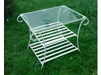 Wrought iron patio, plated glass top patio coffee table, vintage 1960s
