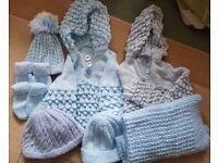Baby Boy hand knitted hats gloves jumpers, approx 12 months