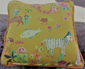 Ochre Linen Cushion Cover Printed Niave African Animals Flowers Insects Zip Opening 18X18 Piped Edge