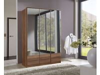 **7-DAY MONEY BACK GUARANTEE!**- Imago 3 Door Mirrored Wardrobe- Solid MDF - SAME/NEXT DAY DELIVERY!