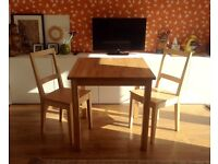 Solid wood IKEA dining table & chairs