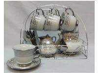 Brand new Silver 17 piece coffee set