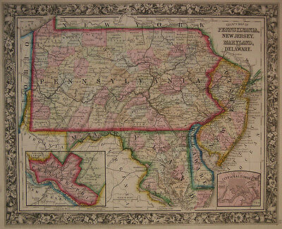 1860 Genuine Antique Map of Pennsylvania, New Jersey, Maryland etc. A Mitchell