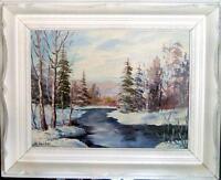 WINTER SCENE, OIL ON MASONITE/SIGNED & FRAMED BY ARTIST