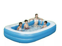 "NEW LARGE DELUXE 103"" RECTANGULAR INFLATABLE PADDLING GARDEN SWIMMING POOL BESTWAY"