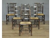 Attractive Set Of 6 Six Vintage Turned Oak & Rush Seat Pad Dining Kitchen Chairs