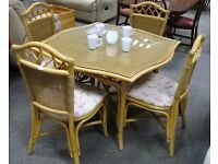 Wicker conservatory set - glass topped dining table and four chairs