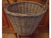 Vintage Wicker Basket. Ideal for Logs, Firewood.