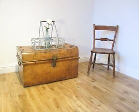 Vintage Metal Travelling Trunk / Storage Chest / Coffee Table