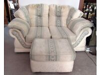 Two Seater Sofa, matching Footstool and Cream Footstool