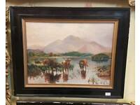 Antique oil painting Highland Cattle 1923
