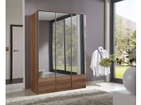 **7-DAY MONEY BACK GUARANTEE!**- Imago Solid Wood 3 Door Mirrored Wardrobe- SAME/NEXT DAY DELIVERY!