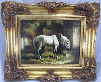SMID Gemälde Pferdeportrait / Portrait Pferd beim grasen Prunkrahmen Öl/ Holz