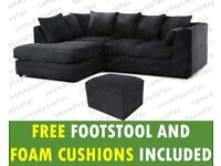 Chicago Corner Sofa in Black Jumbo Cord all over with free matching footstool & free delivery.