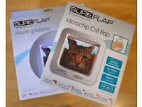 SUREFLAP Microchip Cat Flap + Mounting Adaptor (White) (Brand New) (Unbeatable Price)