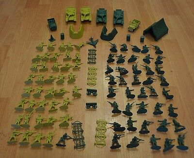 COMBAT FORCE ARMAMENT 100 PIECES JUMBO ARMY PACK PLASTIC TOY SOLDIERS TANKS TENT