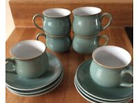 Denby Ware - Set of 6 Green Coffee Cups & Saucers