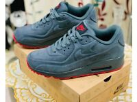 Nike Air Max 90 trainers Grey Suede Red sole all sizes x