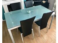 ~FROSTED GLASS DINING TABLE & FOUR CHAIRS~