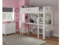 Ex display Mia High Sleeper Bed Frame, Desk & Shelves- White