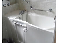Mobility Disabled Spa Bath, walk in jacuzzi hot tub oap sit down bathing, taps shower mixer BARGAIN