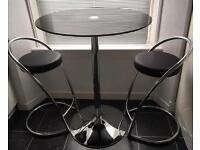 Black Glass/Chrome Tall Bistro Table