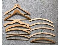 Freebies!! 11 assorted wooden coat hangers