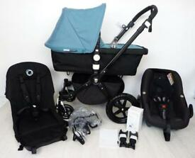 ⭐️Bugaboo Cameleon 3 Newest Model⭐️ Black frame with petrol blue Maxi Cosi Pebble and adapters