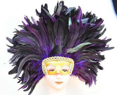 Coque Feather Headdress Mask Costum Mask Headdress Wig Halloween Cosume
