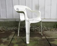 - - - 1 PLASTIC Stacking Lawn Chair (White)' - -