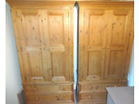 Pair of Large Strong Sturdy Matching Pine Wood Bedroom Wardrobes With Drawers