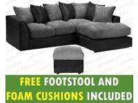 Byron Jumbo Cord all combinations in jumbo cord & faux leather with free footstool & free delivery.