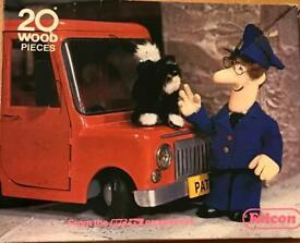 Falcon 1981 Postman Pat 20 Large Piece Wooden Jigsaw. Complete And Good Cond.