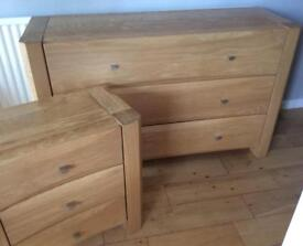 NOVA oak bedroom furniture: chest of drawers, 2 x bedside units, dressing table (4 pieces)