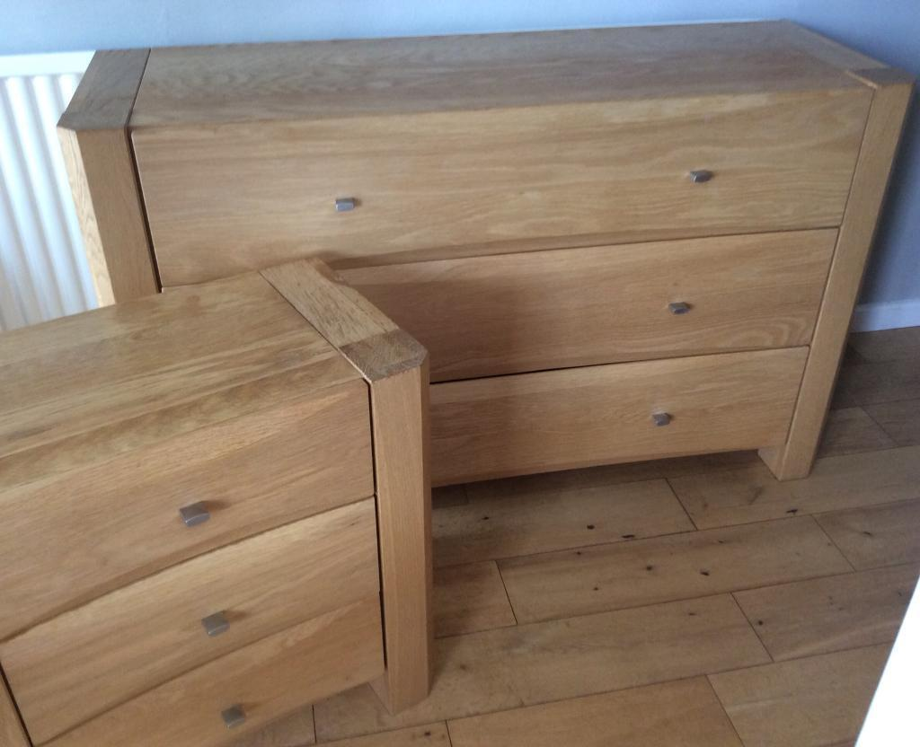 Nova Oak Bedroom Furniture Chest Of Drawers 2 X Bedside Units Dressing Table 4 Pieces