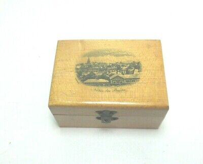 ANTIQUE LIKE MAUCHLINE TRANSFER WARE SMALL WOODEN  BOX NERIS-LES-BAINS FRANCE