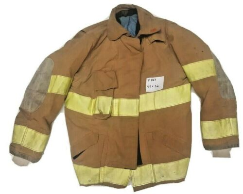 42x32 Globe Firefighter Brown Turnout Jacket Coat with Yellow Tape J860