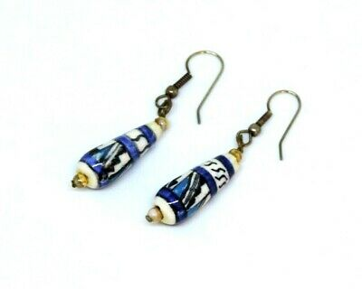 Vintage Chinese Hand Painted Porcelain Blue & White Drop Dangle Hook Earrings
