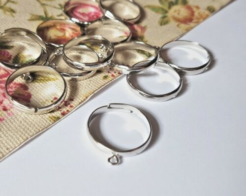 SILVER COLOUR ADJUSTABLE RING BLANKS WITH LOOP, RING BASE, JEWELLERY MAKING