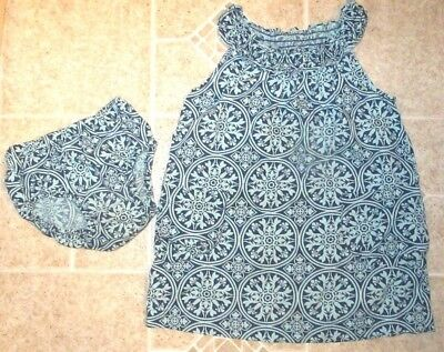 Little Girl's Size 2 Tea Collection Blue Mandala Smocked Dress w/ Bloomers Set - Little Girl Smocked Dresses