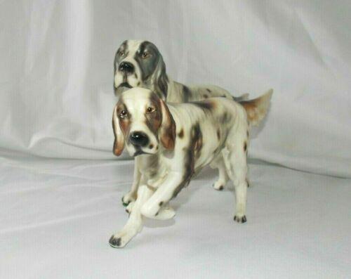 Vintage Porcelain Figurine Pair Of English Setter Hunting Dogs Norcrest Japan