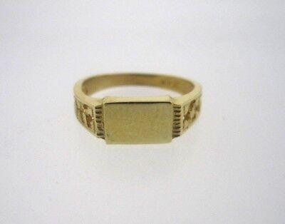 * 585 14K 14KT YELLOW GOLD OPEN DESIGN RECTANGLE SIGNET BABY RING